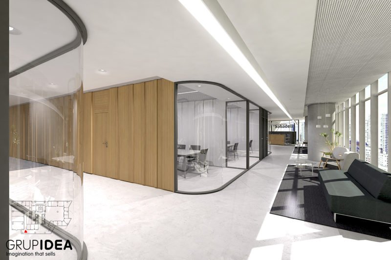 render interior oficinas sabadell Mexico - workplace